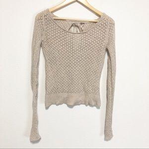 Free People Oatmeal Crochet Tie Back Sweater